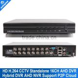 16CH AHD Hybird DVR 960H Real Time CCTV Recorder 1080P 16 Channel Hybrid DVR NVR Onvif 3531 Chips