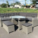 POLY RATTAN SOFA SET / WICKER SOFA SET/ SOFA OUT DOOR/ SOFA (1 left Bench+ 2 right bench+1Corner+1 long stool+ 1 stool+1 table)