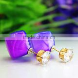Latest Design Double Side Earrings Rhombus Candy Color Tiny Crystal Gold Plated Stud Jewelryi Earrings For Girls
