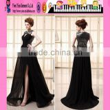 Wholesale Alibaba Sexy Elegant Black Evening Dress OEM High Waisted Floor Touching Sexy Elegant Black Evening Dress