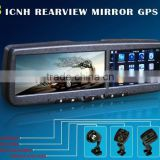 OM-43RA car rearview mirror with gps navigation, bluetooth, camera with CCD device, video parking sensor for any car