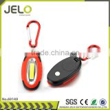 Hot Sales Promotion Egg Shape High Power COB LED Keychain Light Cheaper Gift carabiner Bag Reflector Flashlight Rubber Coating