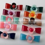 Plastic flower hair accessory with bead hot sale ladies hair accessories solid color bowknot barrette