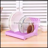 High quality mix Color plastic round dish drying rack plate drying shelf dish stand wholesale