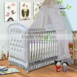 Baby Crib California Mahogany Wood With Tufted Design
