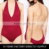 2015 sexy red deep v backless one piece bathing suits swimwear
