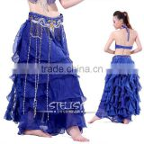 High quality ladies belly dance arabic sexy dance long skirt blue dance long skirt for adult