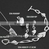 fashion rinestone necklace earring bracelet finger ring 4pcs set on sale, 2 US$ per set!