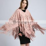 latest fancy tassels suede women crochet elegant western poncho