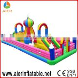 Large children football challenge,inflatable football obstacle course