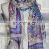 satin polyester square scarf JDYVP-001# Printing scarf 100% voile polyester shawl wholesaler
