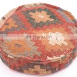 Indian Handmade Ottoman Round Pouf Traditional Wool Jute Durrie Floor cushion Wholesale