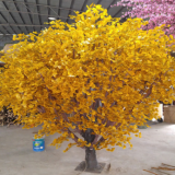 natural trunk artificial golden silk cloth leaves ginkgo tree