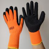 wool line knitted wrinkled latex palm coated safety work gloves