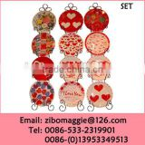 Valentine's Designed Custom Porcelain Plates with Rack for Decoration Items for Tableware
