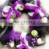 "Christmas Wreath/Garland Decoratioln With Flowers/ 18"" Artificial Purple Color Butterfly Decoratived Mesh Wreaths for Halloween"