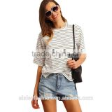 Summer 2016 Women White and Black Crew Neck Half Sleeve Striped t shirt cotton round t shirt TS079