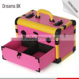 Small hair stylist beauty tool display cases portable cosmetic makeup case with carring handle