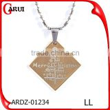Merry Christmas gold jewelry gift pendant necklace