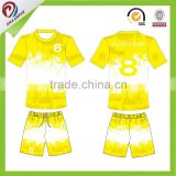 sublimated Color ink splash football clothing wholesale yellow brazil xxl soccer jersey