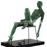 Green color brass nude lady on the chair statue