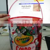 Top grade and best selling PVA material round bottom plastic bag with handle and lid to packaging colored pencils/ crayons