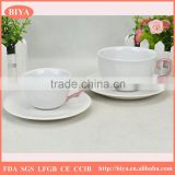 cup set porcelain espresso coffee tea cup and saucer dish with special color handle accept custom logo print design