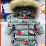 cute and fanshion flower coat and fur hooded children winter coat for wholesale baby girls clothes for winter Down jacket                                                                         Quality Choice
