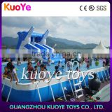 steel frame swimming pool for amusement park, metal frame pool with dolphin slide inflatable