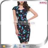 ladies office wear women sexy business suits indian dress design patterns kimono floral print short sleeve career dresses                                                                         Quality Choice