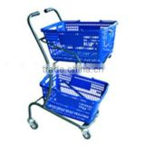 Dachang Factory Shopping Trolley with baskets Powder Coated Two levels/trolley cart/small and convenient cart/AEON style