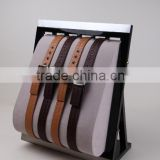 Stand velvet wooden leather belt display