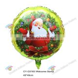 2016 18'' round shape foil balloon with welcome santa print christmas party decoration