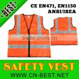 2015 NEWS 100% polyester Unisex Adult high quality Breathable lightweight reflective vest,orange security vest