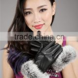Winter Womens Black Fur Cuff Genuine Washed Leather Gloves