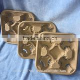 Biodegradable Molded Pulp 4 Cups Coffee Carrier Tray
