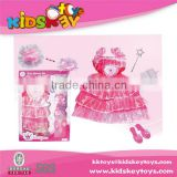 Wholesale beautiful kid costume party toy dress beauty set toy for girls
