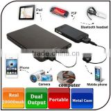 2014 New style real 20000mAh slap-up metal cover usb mobile bank computer portable power bank with adaptors