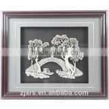 Silver Haze/Silver painted bridges Figure/Featured home silver carved paintings