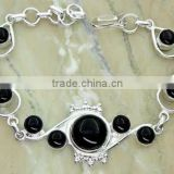 Black Onyx Gemstone & Silver Bracelet &.925 Sterling Silver Jewelry Bracelet Wholesale Jewelry