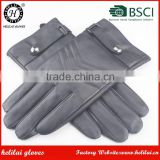 Hot Selling Men's Winter Genuine Buckle and Embroidery Leather Gloves Cashmere Lined