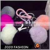 Solid Colorful Rabbit Fur Ball Car Keychain Pendant Leather Handbag Charm Pom Pom Keyring