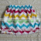 Hotsale adorable colourful chevron over hip skirt for girls,Mini zig zag chevron skirt for girls