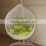Outdoor swing hanging chair cheap white wicker furniture with green cushion