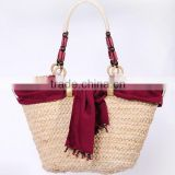 2014 hot summer beach women straw bag handbag with scarf
