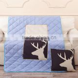 The White Deer Sofa Cushion Blue Quilt Throw Pillow