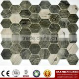 "IMARK 3D Inkjet Printing Urban Wood 2"" Hexagonal Glass Mosaic Tile CODE IH6-004"