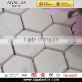 Honeycomb pattern mosaic, hexagon white marble wall tile, matt finish for backsplash and bathroom EMC154