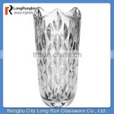 LongRun wholesale price crystal glass vase with dot carved pattern made in china