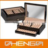 High quality custom made-in-china color pencils wooden gift box with glass lid (ZDS-F005)